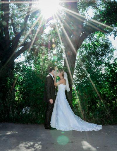 küssendes Brautpaar im Park Hirschstetten Wien