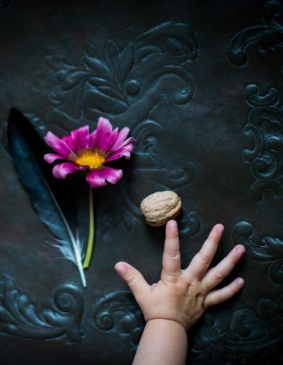 Kind mit Nuß und Blume